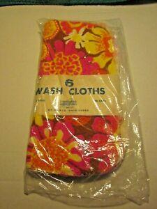 "NOS NEW Leshner Set of 6 Washcloths 12"" x 12"" Orange, Yellow & Brown Floral"