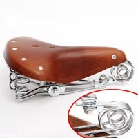 Retro Vintage Bicycle Bike Cycle Genuine Leather Saddle Seat Spring Comfort Seat