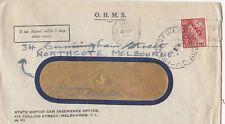 Stamp Australia 3&1/2d QE2 perfin VG 1957 OHMS State Motor Car Insurance cover