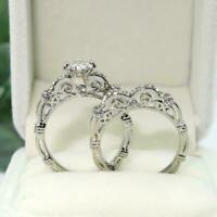Fashion Jewelry 925 Silver White Sapphire Wedding Engagement Ring Set Size5-11