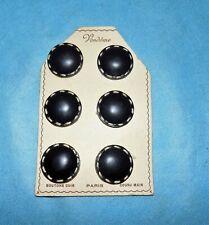 6 boutons anciens de 1960 VENDOME PARIS en cuir noir cousu main 3 cm