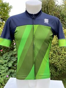 Sportful Short sleeved green Polyester Cycling Jersey Full zip Large