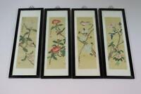 4er Set Wandbilder chinesische Gemälde auf Stoff Vögel Blumen Malerei (RK491)