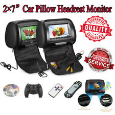 "2X 7"" TFT LCD Car Pillow Headrest Monitor Game DVD/USB/SD/MP3 Player Video FM/IR"