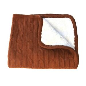 effe bebe Magnolia Cable Knit and Sherpa Baby Blanket (Leather Brown)
