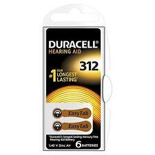 Paquete De 6 Duracell Activair Talla 312 Marrón Pestaña Audífono Baterías De Larga Caducidad