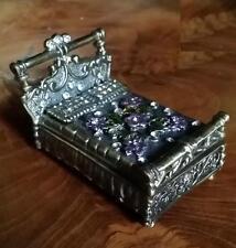 Glas Strass Metall Ring Pillen DOSE Schachtel Prinzessin Bett 6,5cm