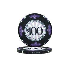 25 Black $100 Scroll 10g Ceramic Casino Poker Chips New - Buy 3, Get 1 Free