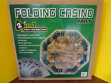 Camouflage FOLDING CASINO MAT 2 in 1 Poker and Black Jack Portable ~FAST S/H~