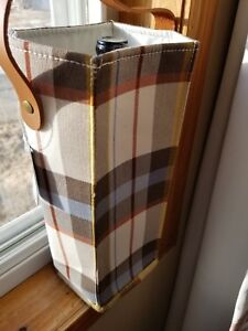 Threshold Plaid Canvas Wine Bag With Leather Handle Brown/White .. New