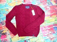 E12 Superdry Chunky Cable Knit Jumper Jenna Burgundy Size 10