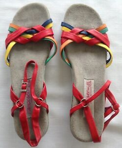 1980's  Famolare Rainbow Wedge Sandals Heels Womens US 10 N Narrow made in Italy