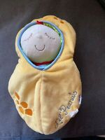 Manhattan Toy LIL PEANUT Baby Doll 10in Soft Plush Yellow Velour Bunting 2006