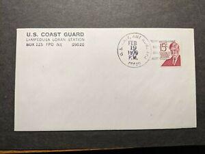 FPO 09520 LAMPEDUSA, SICILY, ITALY 1979 Navy Cover US Coast Guard LORAN Station