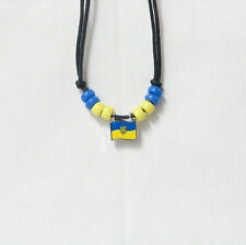 Ukraine With Trident Country Flag Small Metal Necklace Choker . New