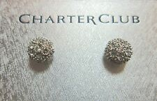 New with Box! Charter Club Silver Colored Circle Bejeweled Earrings