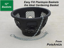 "6 X 12"" NEW EASY FILL HANGING BASKETS (BLACK) EASY FILL"