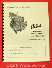 "ATLAS/Craftsman 10"" Quick Change Gear Box Installation & Part Manual 0054"