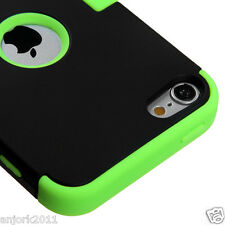 Apple iPod Touch 5 T Armor Hybrid Case Skin Cover Accessory Black Green