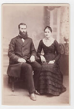 1882/Handsome Married Couple/St Paul MN/Woman in Elaborate Dress/Lace and Beads