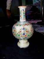 """12"""" Elegant Marble Flower Vase Marquetry Inlay Floral Thanks Gift Decor E1112"""