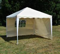 ALU Faltpavillon 3x3m + 2 Seitenwänden Wasserabweisend Faltzelt Pavillon beige