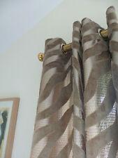 Paire de rideaux belle qualité beige/marron très clair doré façon zébrée