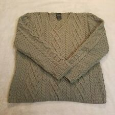VTG Paul James England Women SZ M 100% Wool Sage Cable Knit V-Neck Sweater 806