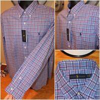 NWT NEW $89 Ralph Lauren Classic Long Sleeve Button Down Shirt Blue Plaid Size L