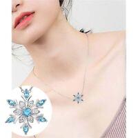 Chain Aquamarine Charm Snowflake Gift Wedding Frozen Pendant Necklace