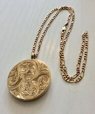 Fabulous Vintage Large Circular Solid 9CT Gold Locket on 9CT Gold Chain 18""