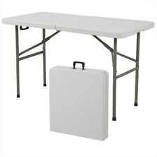 Portable 4-Foot Center Folding Table with Carry Handle Multipurpose NEW