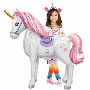 Giant 116cm Unicorn Airwalker Balloon Girls Party Helium or Air **UK FAST POST**