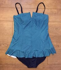 Spanx 2691 THIN STRIPE NAVY SPLASH ONE-PIECE SWIMSUIT RUFFLE SWIM DRESS sz 6 NWT