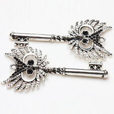 2Pcs Tibet Silver Jewelry Owl Skeleton Keychain Handmade Charms Pendants Making