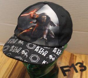YOUTH KIDS KYLO REN STAR WARS HAT BLACK SNAPBACK ADJUSTABLE VERY GOOD COND F13