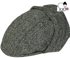 Qualità Harris Tweed Bugatti Piatto Tappo con Flap Ear-Grigio spina di pesce M, L, XL