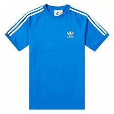 Adidas Originals 3 Rayas Logo tee Trébol Hombres Camiseta Azulejo Azul Blanco