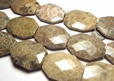 """16"""" Strand  """"Petoskey""""  FOSSIL CORAL 40mm Faceted Octagon Pendant Beads"""