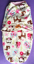 """NEW GIRL JUST CUTE""""Soft warm Flannel Pink Zoo SWADDLE size 3-6mths"""