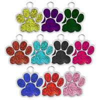 GLITTER/FOIL PAW ENGRAVED DOG ID NAME TAG DISC PERSONALISED PET IDENTITY TAGS