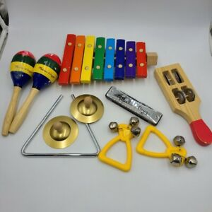 Melissa & Doug Beginner Band Learn-to-Play Wood Instruments Cymbals  Lot 10