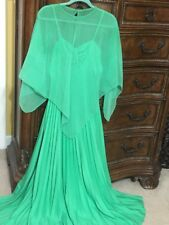Vintage Women's Evening Gown Accordion Pleat Dress with Cape~ Green ~ Size 14