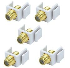 5x F-Type Insert Keystone Coax Jack Connectors Adapters RG59 RG6 White Lot (New)