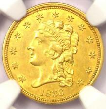 1836 Classic Gold Quarter Eagle $2.50 Coin - NGC Uncirculated Details (UNC MS)!