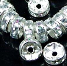 6mm Silver Rhinestone Rondelle Beads (30pc)