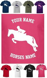 PERSONALISED HORSE / PONY T-SHIRT Small to 5XL SHOW JUMPER JUMPING ~ REG CUT T