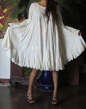 ETHNIC BOHO Vtg   FREE SIZE SMOCK cream ANGEL BUTTERFLY  WEDDING MAXI DRESS