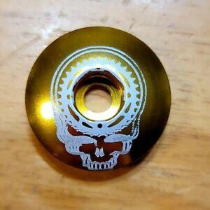 Mountain Bike Chainring Skull Headset Stem Top Cap 1 1/8 Grateful Dead Gold