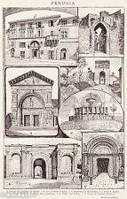 Perugia in Sintesi. Grande Veduta. Umbria. Stampa Antica + Passepartout. 1901